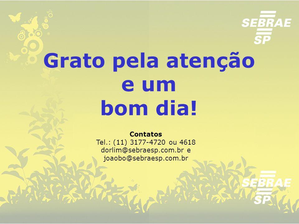 Tel.: (11) 3177-4720 ou 4618 dorlim@sebraesp.com.br e