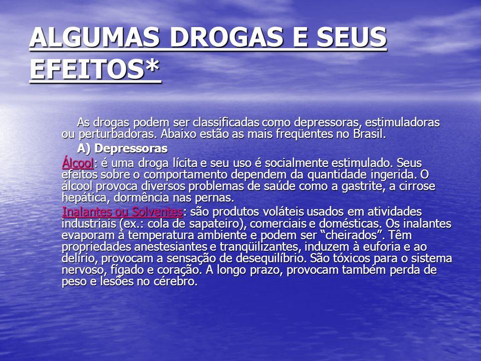 ALGUMAS DROGAS E SEUS EFEITOS*