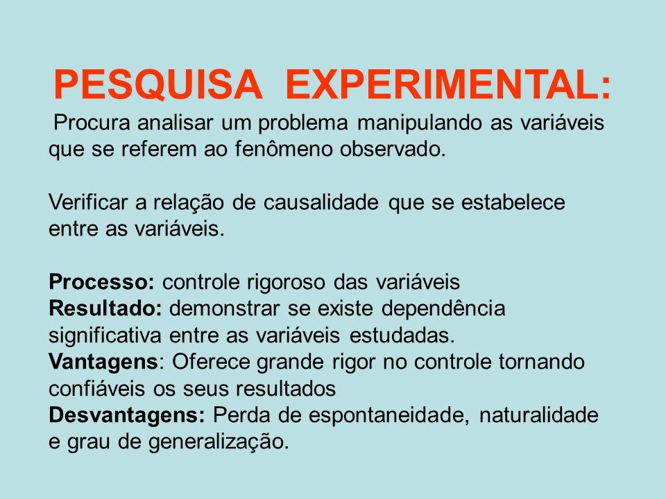 PESQUISA EXPERIMENTAL:
