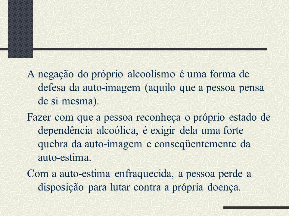 A negação do próprio alcoolismo é uma forma de defesa da auto-imagem (aquilo que a pessoa pensa de si mesma).