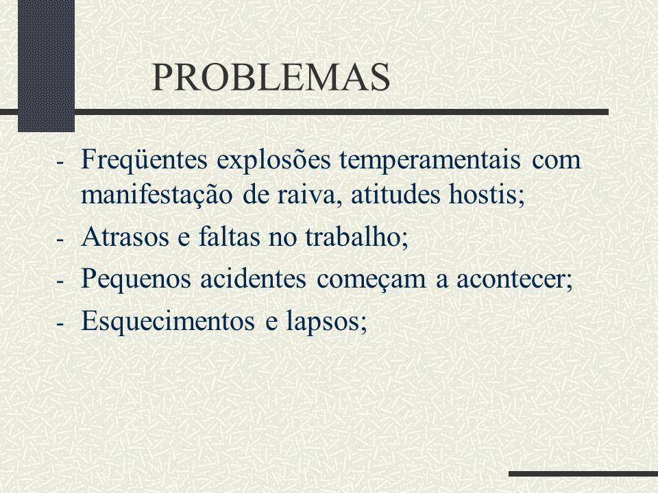 PROBLEMAS Freqüentes explosões temperamentais com manifestação de raiva, atitudes hostis; Atrasos e faltas no trabalho;