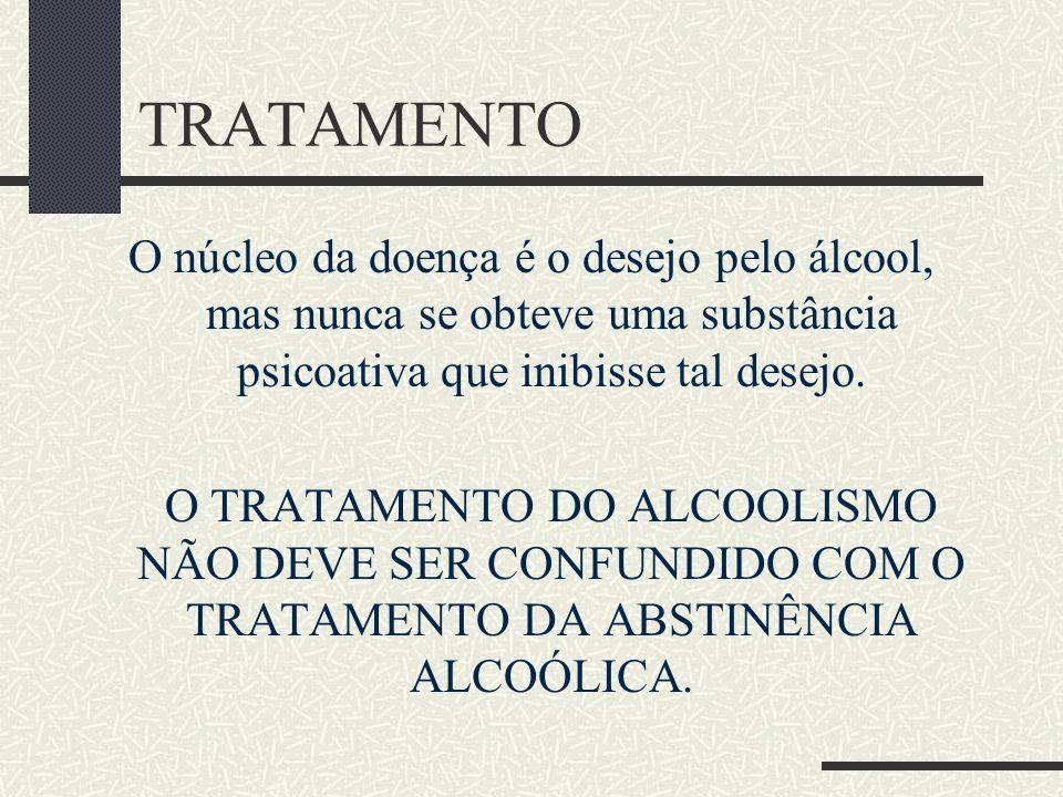 TRATAMENTOO núcleo da doença é o desejo pelo álcool, mas nunca se obteve uma substância psicoativa que inibisse tal desejo.