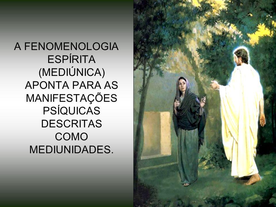 A FENOMENOLOGIA ESPÍRITA (MEDIÚNICA) APONTA PARA AS MANIFESTAÇÕES PSÍQUICAS DESCRITAS COMO MEDIUNIDADES.