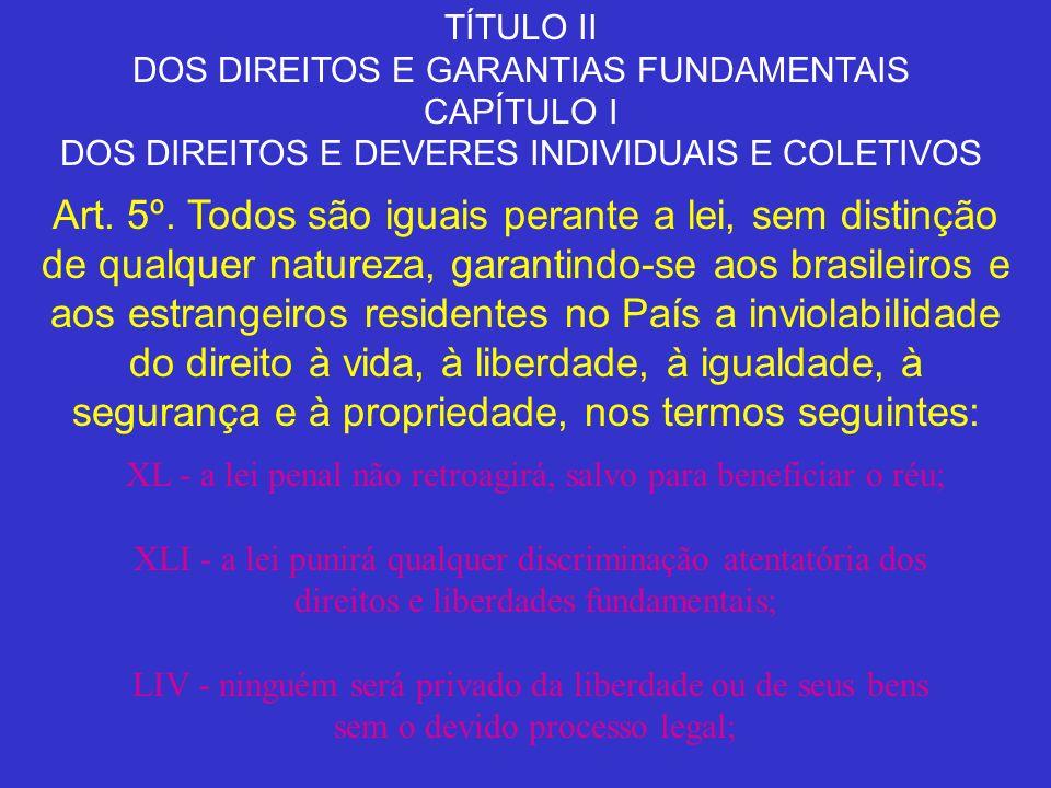 TÍTULO II DOS DIREITOS E GARANTIAS FUNDAMENTAIS. CAPÍTULO I. DOS DIREITOS E DEVERES INDIVIDUAIS E COLETIVOS.