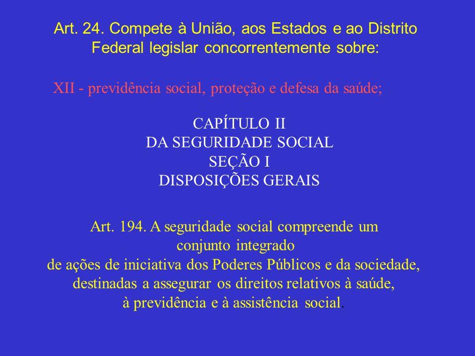 XII - previdência social, proteção e defesa da saúde;
