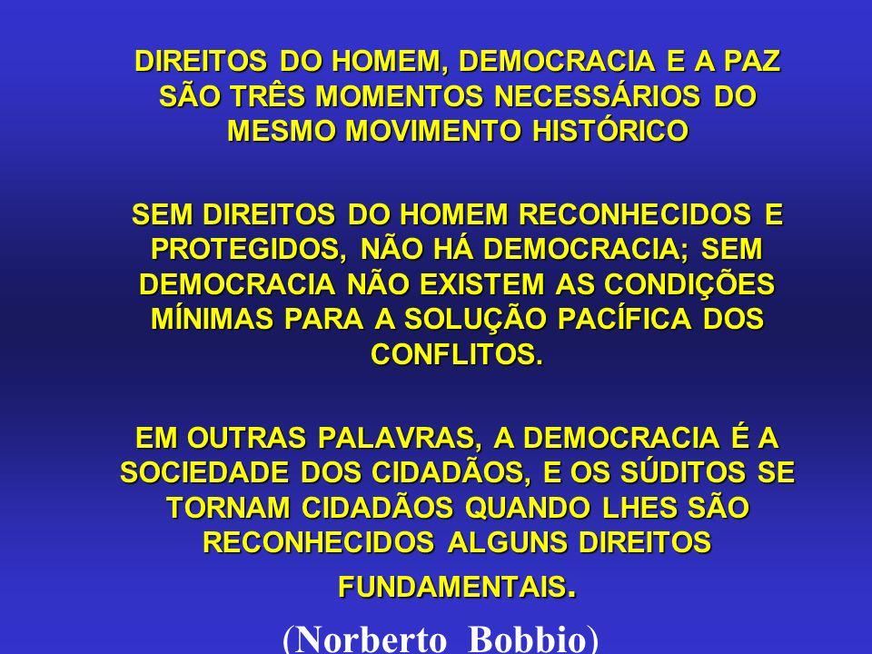 DIREITOS DO HOMEM, DEMOCRACIA E A PAZ SÃO TRÊS MOMENTOS NECESSÁRIOS DO MESMO MOVIMENTO HISTÓRICO