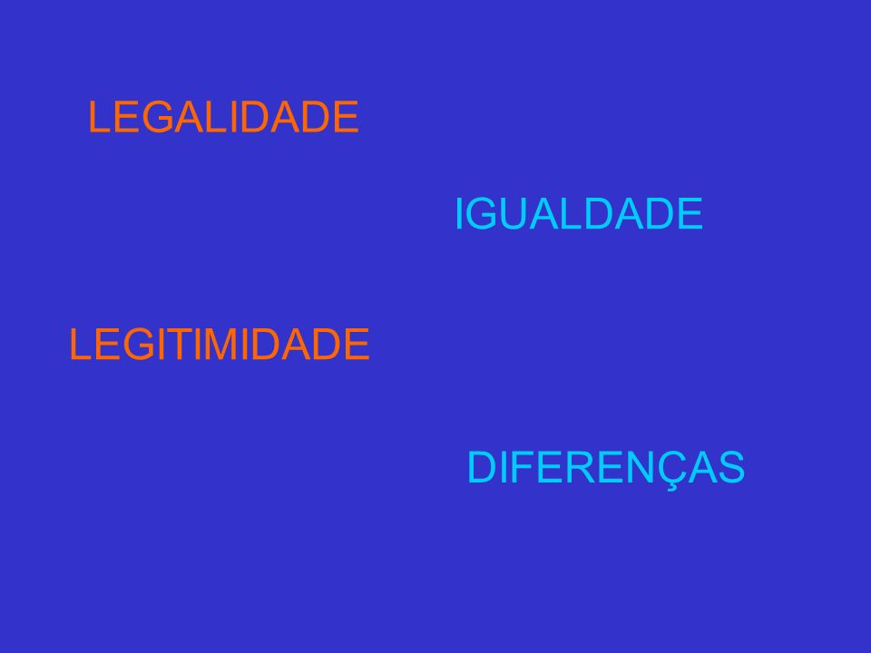 LEGALIDADE IGUALDADE LEGITIMIDADE DIFERENÇAS