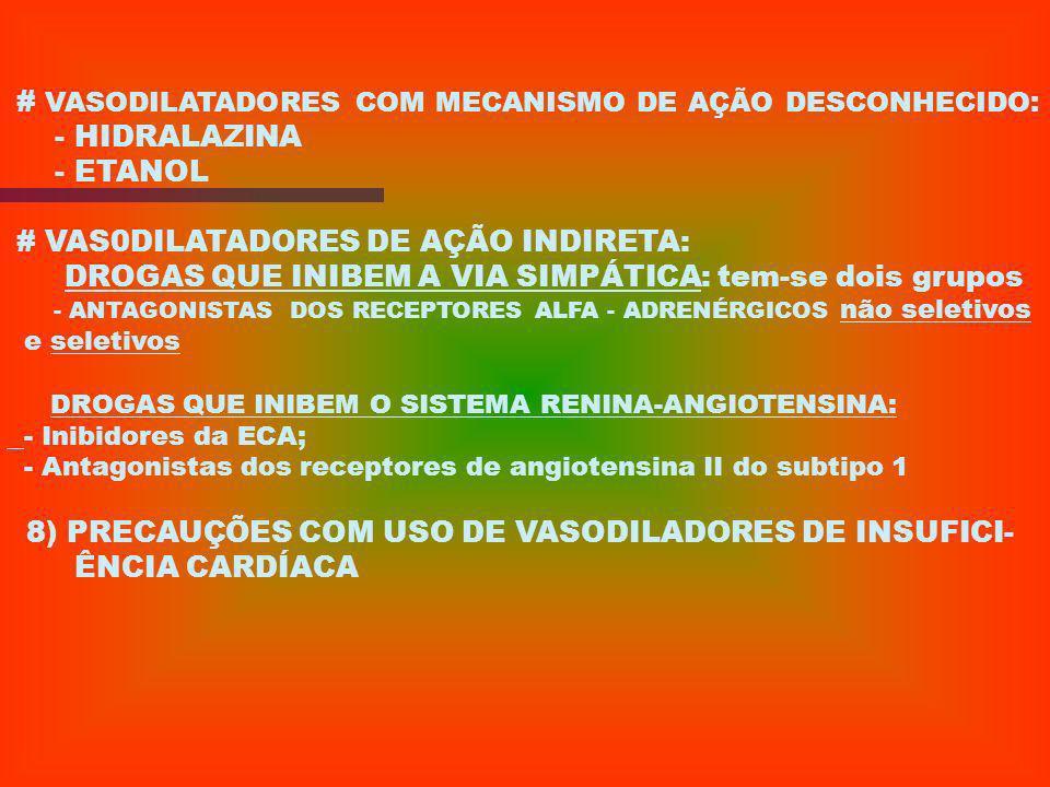 # VASODILATADORES COM MECANISMO DE AÇÃO DESCONHECIDO: - HIDRALAZINA
