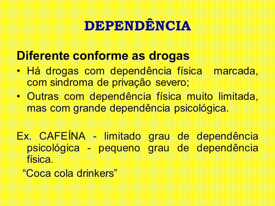 DEPENDÊNCIA Diferente conforme as drogas