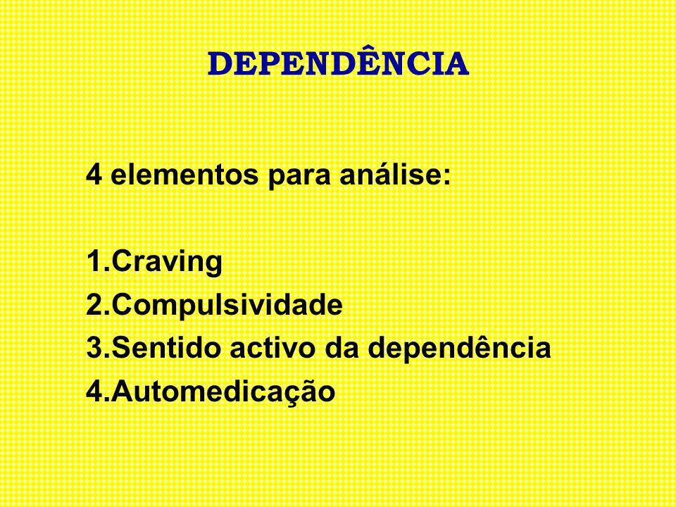 DEPENDÊNCIA 4 elementos para análise: 1. Craving 2. Compulsividade