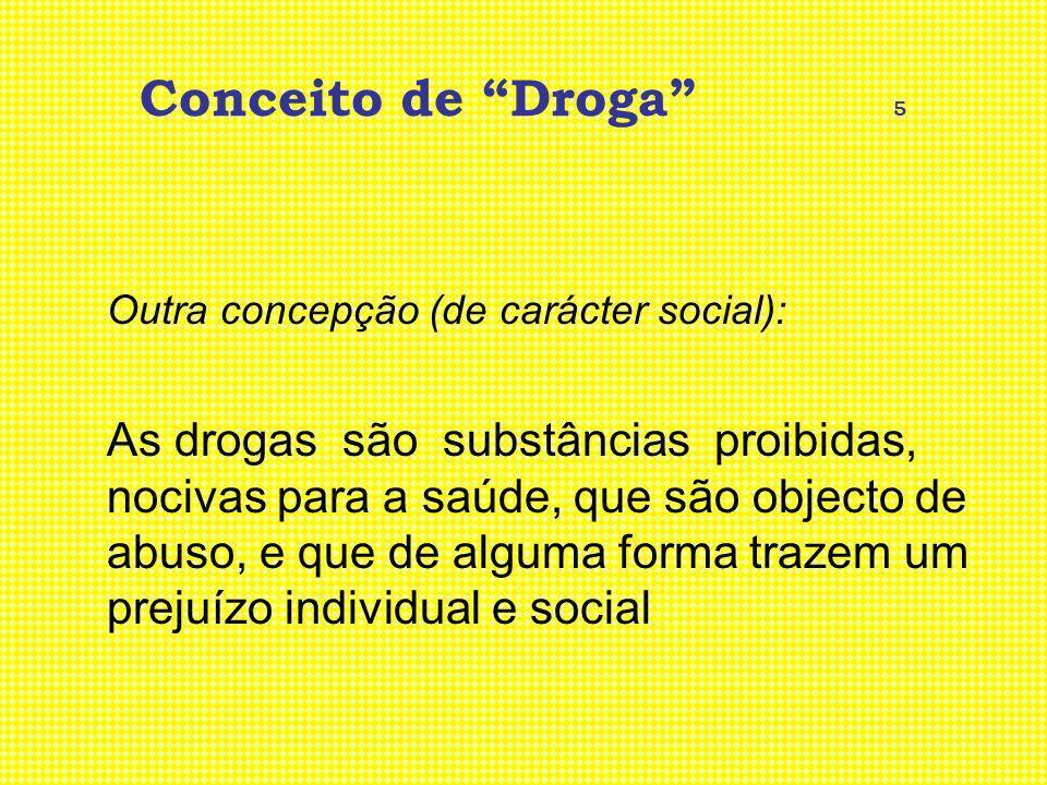 Conceito de Droga 5 Outra concepção (de carácter social):