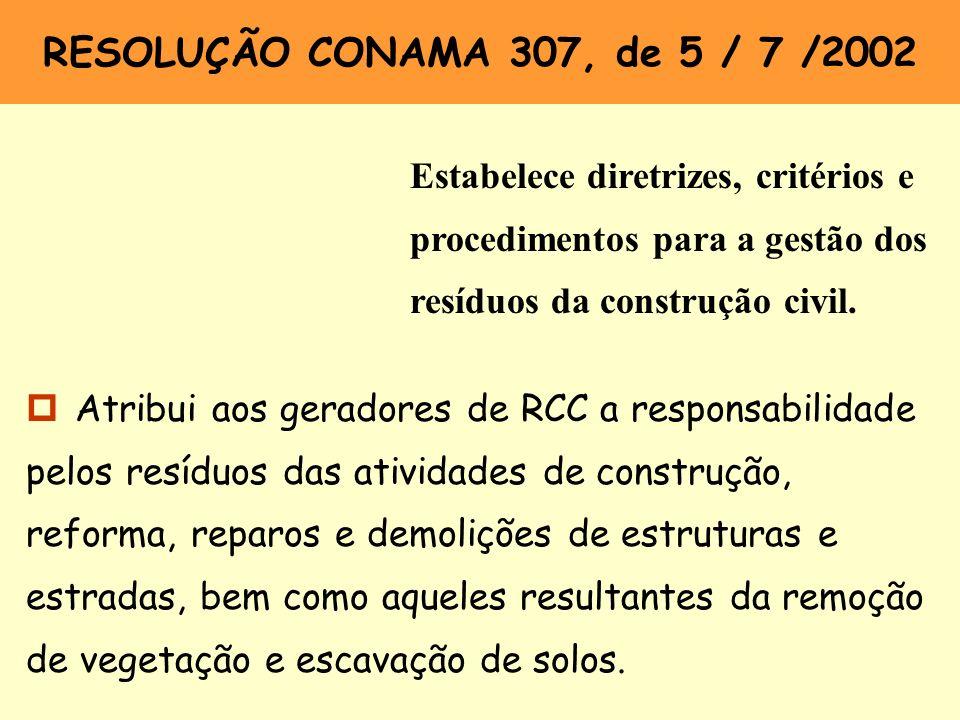 RESOLUÇÃO CONAMA 307, de 5 / 7 /2002 Estabelece diretrizes, critérios e procedimentos para a gestão dos resíduos da construção civil.