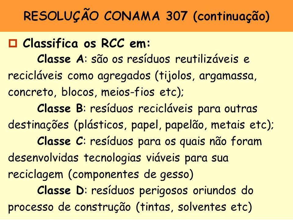 Classifica os RCC em: Classe A: são os resíduos reutilizáveis e recicláveis como agregados (tijolos, argamassa, concreto, blocos, meios-fios etc);