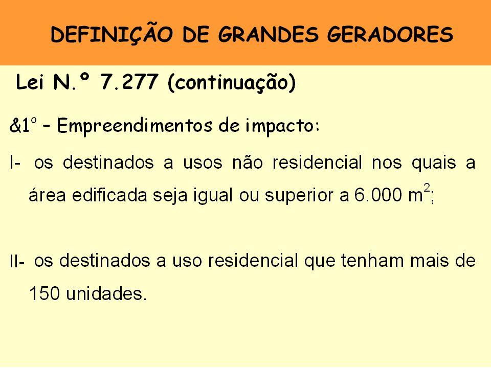 DEFINIÇÃO DE GRANDES GERADORES