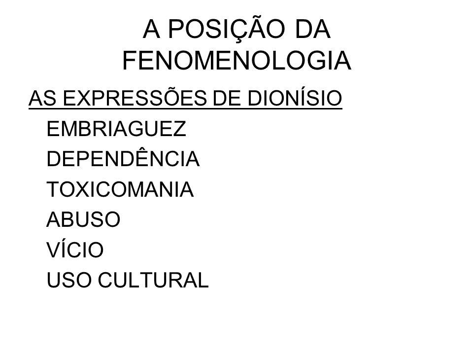 A POSIÇÃO DA FENOMENOLOGIA