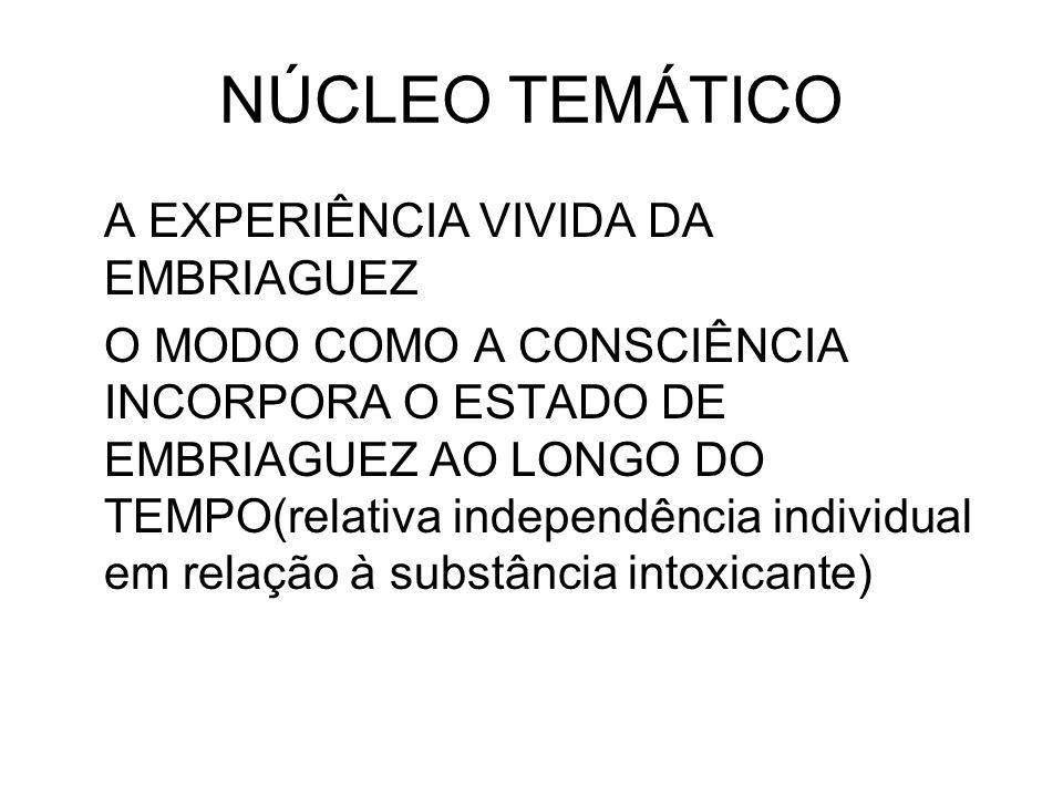 NÚCLEO TEMÁTICO A EXPERIÊNCIA VIVIDA DA EMBRIAGUEZ