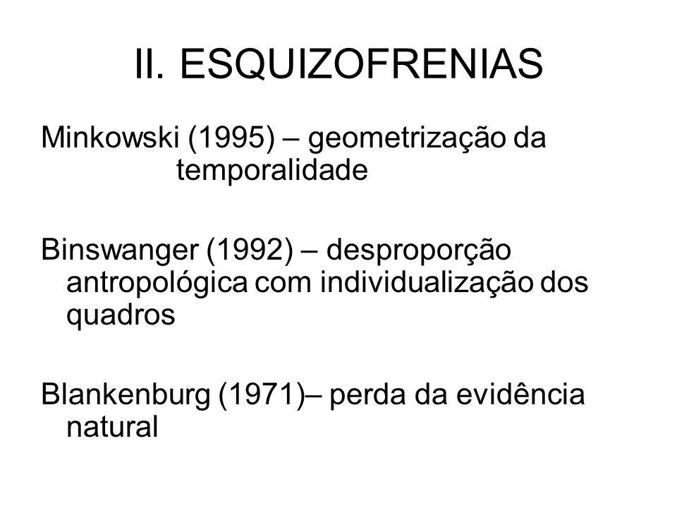 II. ESQUIZOFRENIAS Minkowski (1995) – geometrização da temporalidade