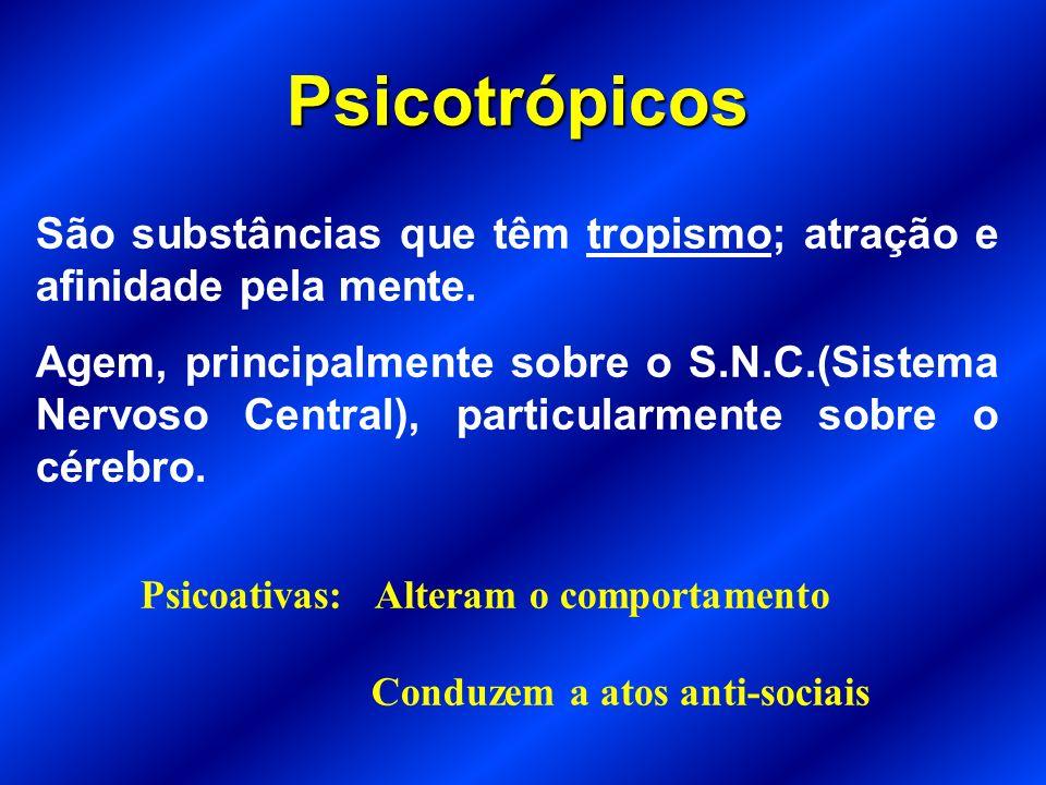 Psicotrópicos São substâncias que têm tropismo; atração e afinidade pela mente.