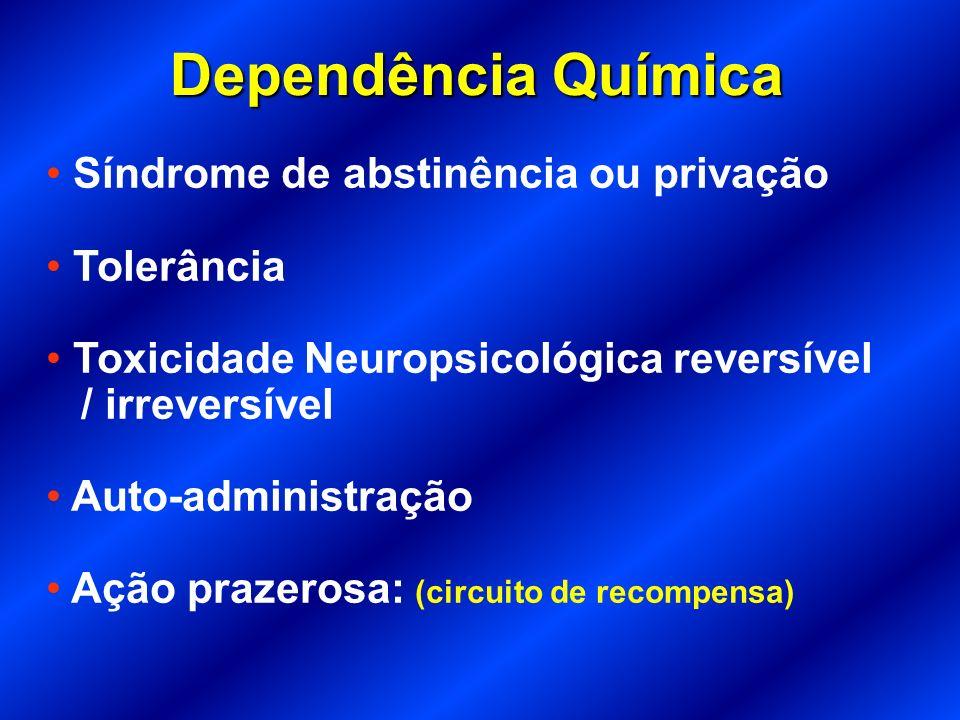 Dependência Química Síndrome de abstinência ou privação Tolerância