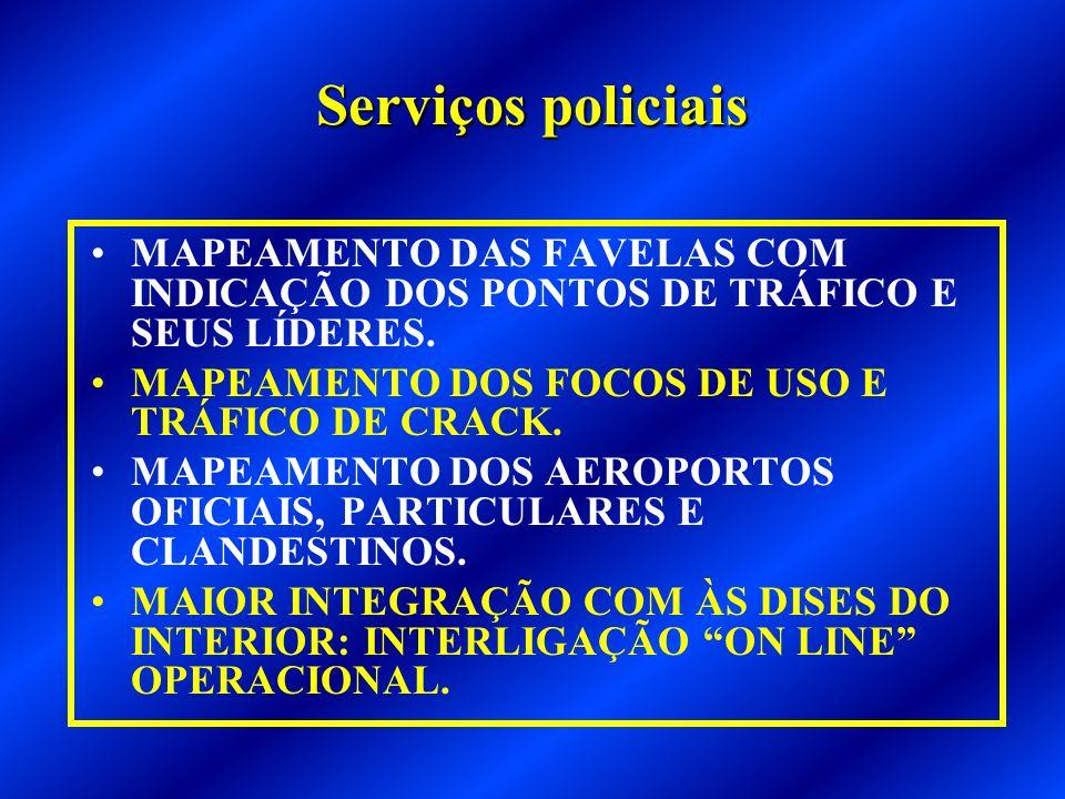 Serviços policiaisMAPEAMENTO DAS FAVELAS COM INDICAÇÃO DOS PONTOS DE TRÁFICO E SEUS LÍDERES. MAPEAMENTO DOS FOCOS DE USO E TRÁFICO DE CRACK.