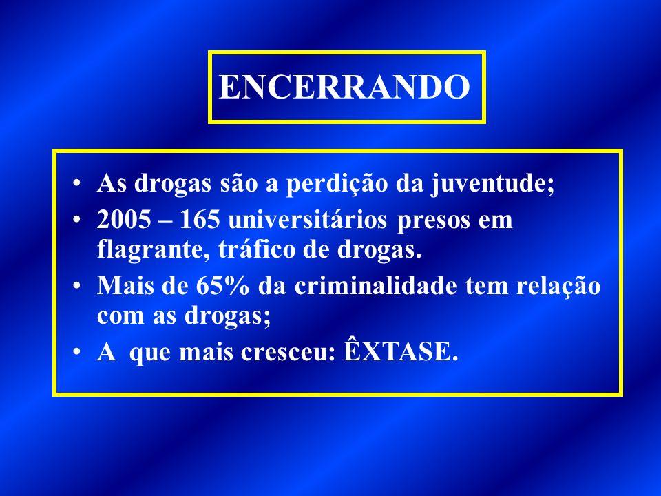 ENCERRANDO As drogas são a perdição da juventude;