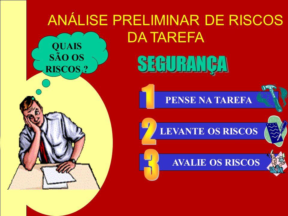 SEGURANÇA 1 2 3 QUAIS SÃO OS RISCOS PENSE NA TAREFA