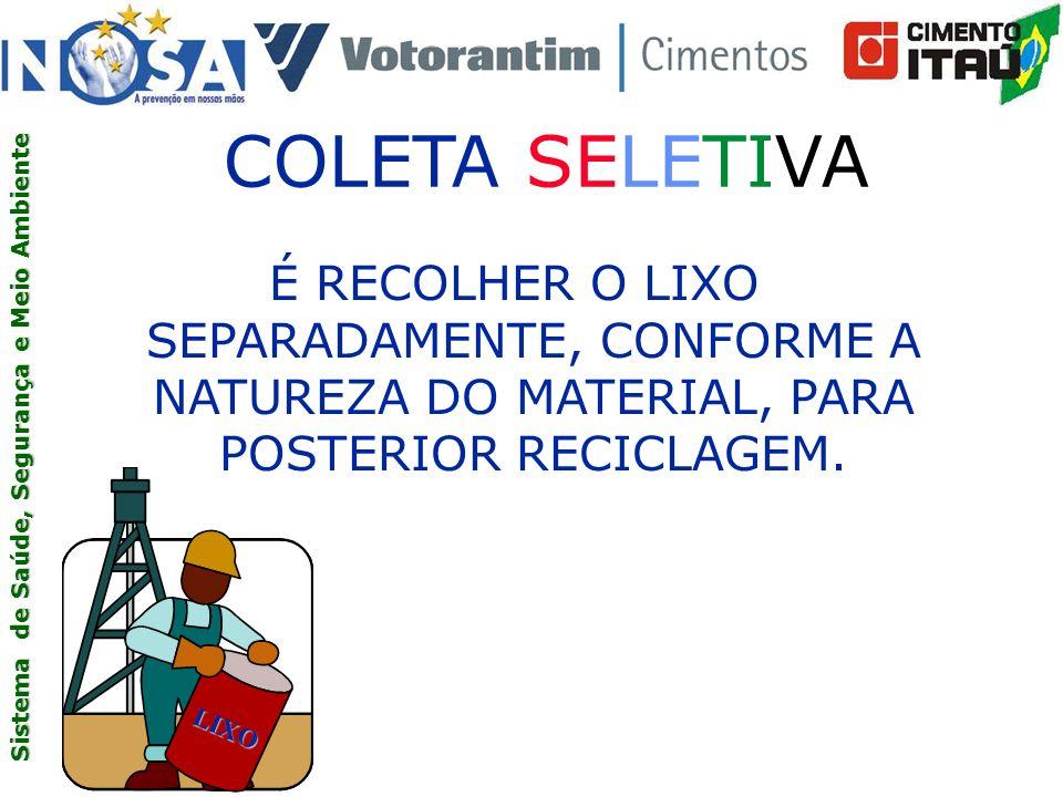 COLETA SELETIVA É RECOLHER O LIXO SEPARADAMENTE, CONFORME A NATUREZA DO MATERIAL, PARA POSTERIOR RECICLAGEM.