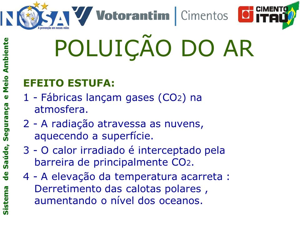 POLUIÇÃO DO AR EFEITO ESTUFA: