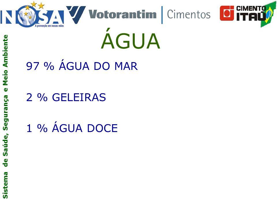 ÁGUA 97 % ÁGUA DO MAR 2 % GELEIRAS 1 % ÁGUA DOCE