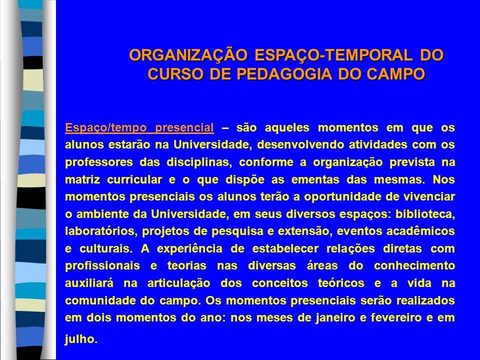 ORGANIZAÇÃO ESPAÇO-TEMPORAL DO CURSO DE PEDAGOGIA DO CAMPO