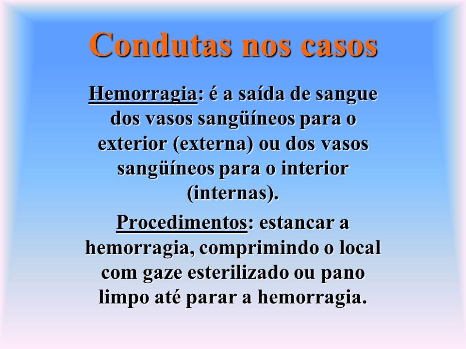 Condutas nos casos Hemorragia: é a saída de sangue dos vasos sangüíneos para o exterior (externa) ou dos vasos sangüíneos para o interior (internas).
