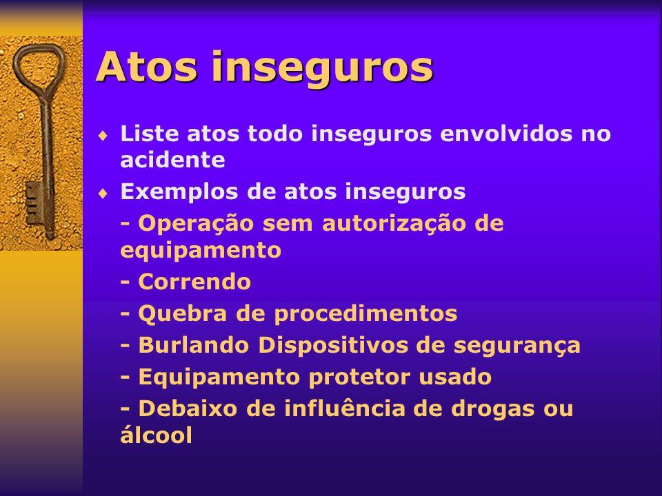 Atos inseguros Liste atos todo inseguros envolvidos no acidente