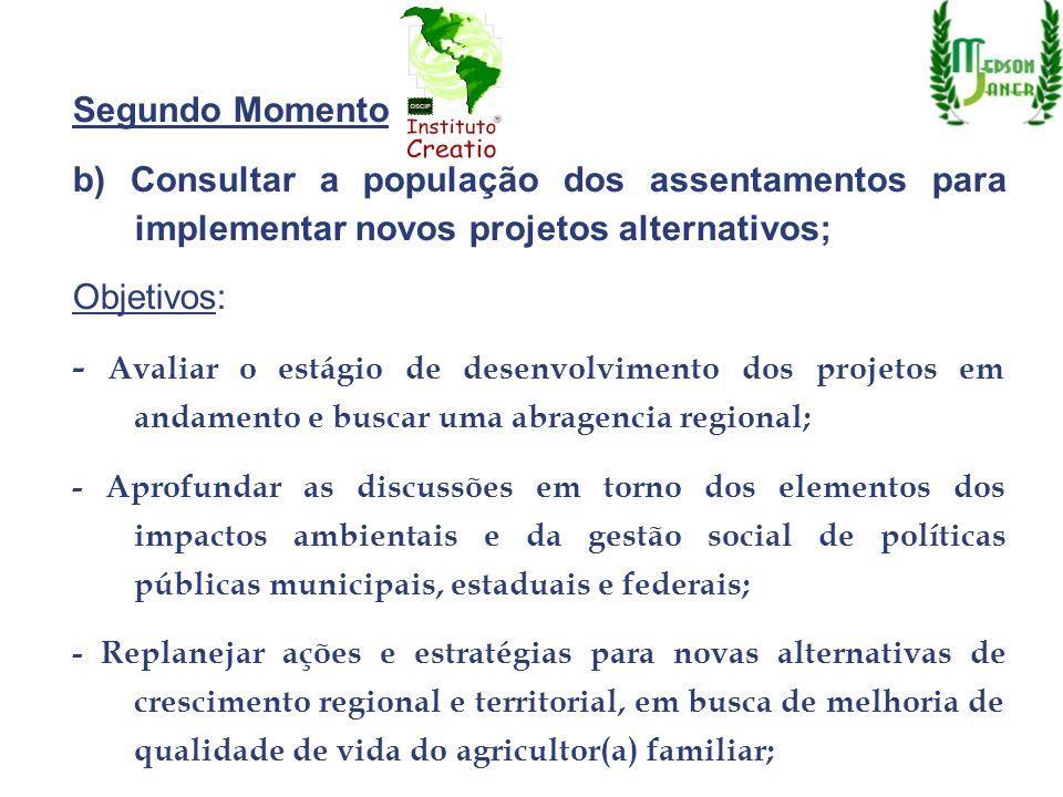 Segundo Momento b) Consultar a população dos assentamentos para implementar novos projetos alternativos;