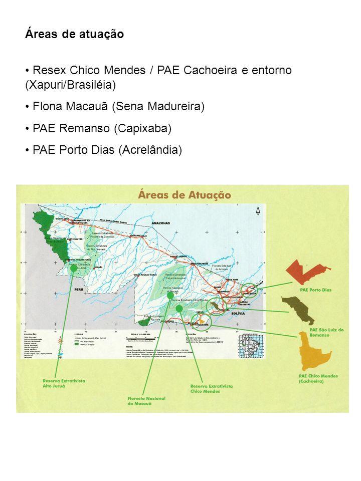 Áreas de atuaçãoResex Chico Mendes / PAE Cachoeira e entorno (Xapuri/Brasiléia) Flona Macauã (Sena Madureira)