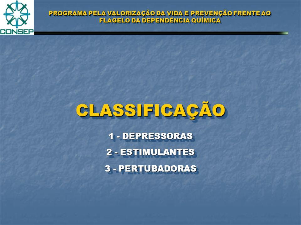 CLASSIFICAÇÃO 1 - DEPRESSORAS 2 - ESTIMULANTES 3 - PERTUBADORAS
