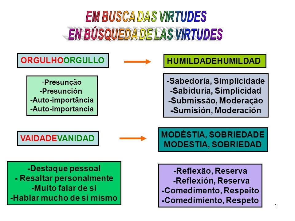 -Sabedoria, Simplicidade -Sabiduría, Simplicidad -Submissão, Moderação