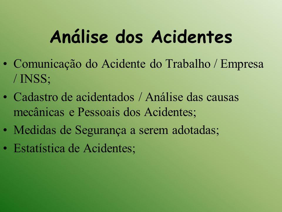 Análise dos Acidentes Comunicação do Acidente do Trabalho / Empresa / INSS;