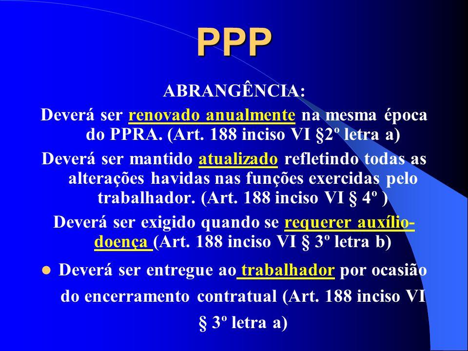 PPP ABRANGÊNCIA: Deverá ser renovado anualmente na mesma época do PPRA. (Art. 188 inciso VI §2º letra a)