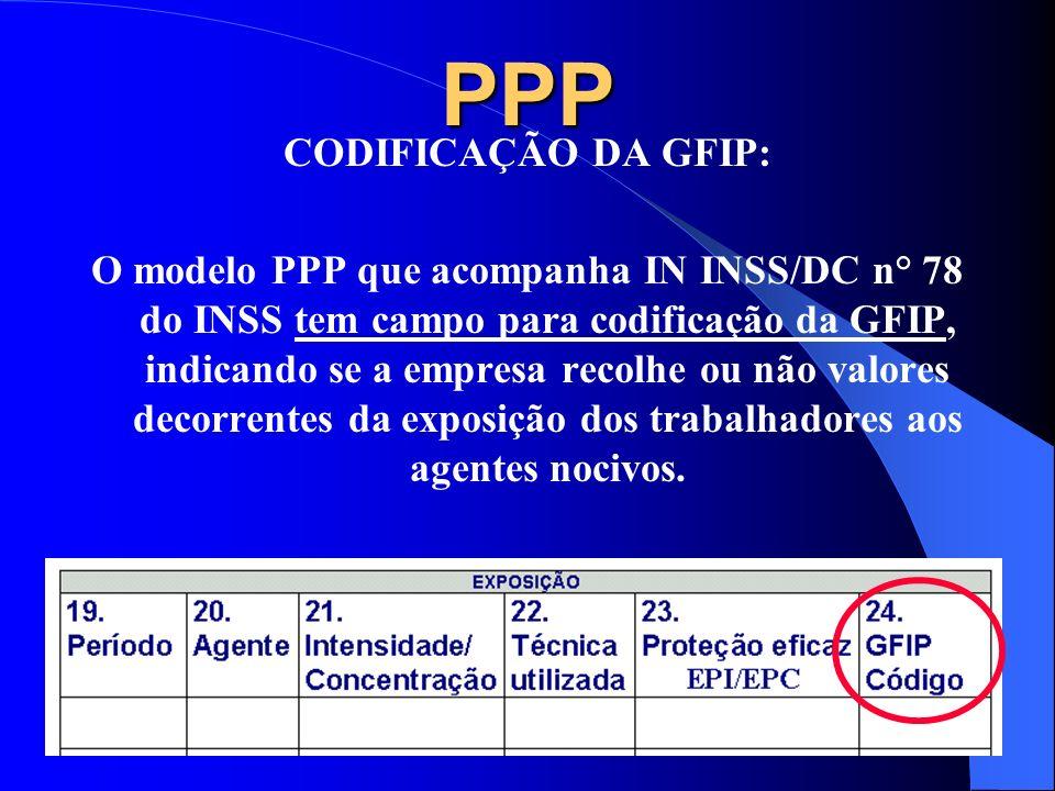 PPP CODIFICAÇÃO DA GFIP: