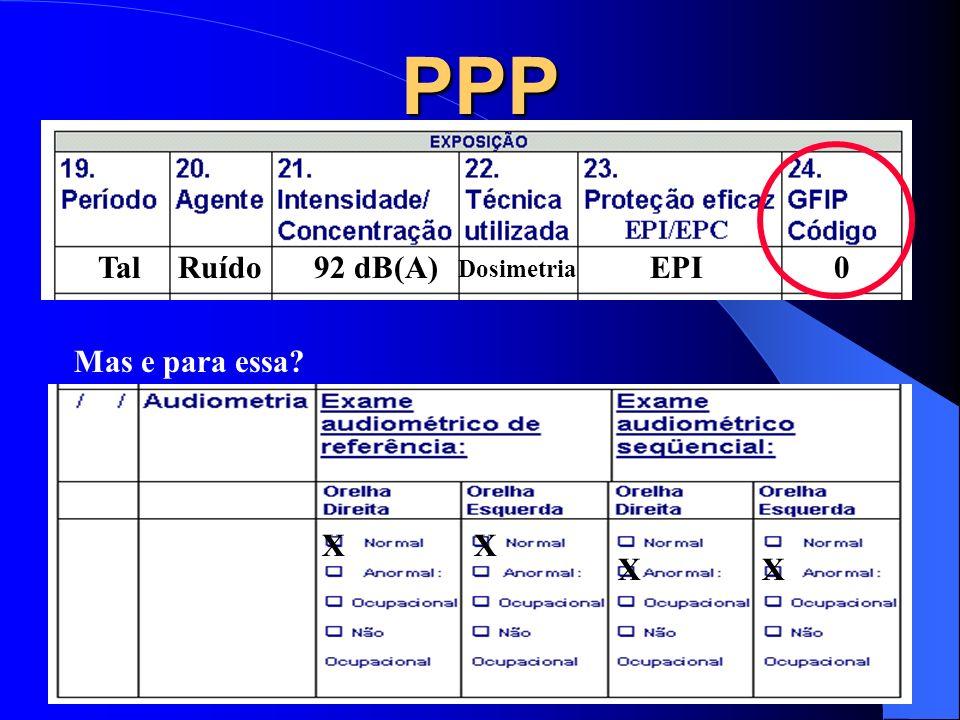 PPP Tal Ruído 92 dB(A) Dosimetria EPI Mas e para essa X X X X X X X X