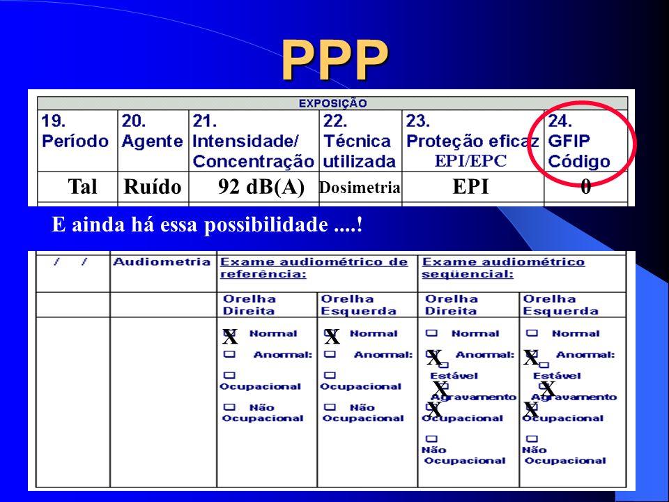 PPP Tal Ruído 92 dB(A) EPI E ainda há essa possibilidade ....! X