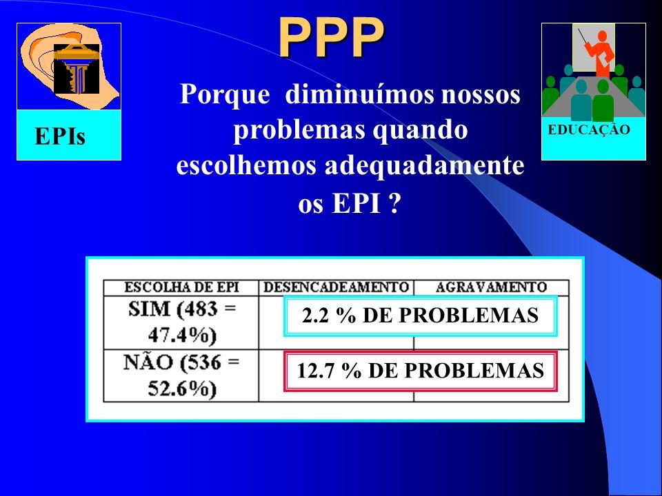 PPP EPIs. EDUCAÇÃO. Porque diminuímos nossos problemas quando escolhemos adequadamente os EPI 2.2 % DE PROBLEMAS.