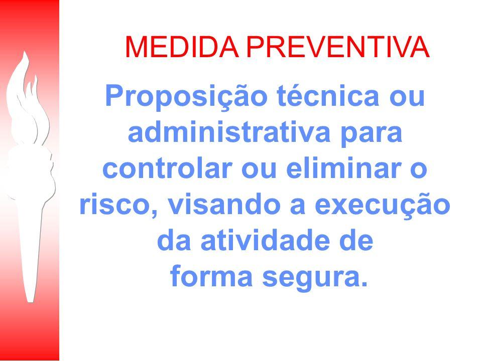 MEDIDA PREVENTIVA Proposição técnica ou administrativa para controlar ou eliminar o risco, visando a execução da atividade de.