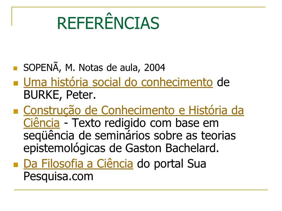 REFERÊNCIAS Uma história social do conhecimento de BURKE, Peter.