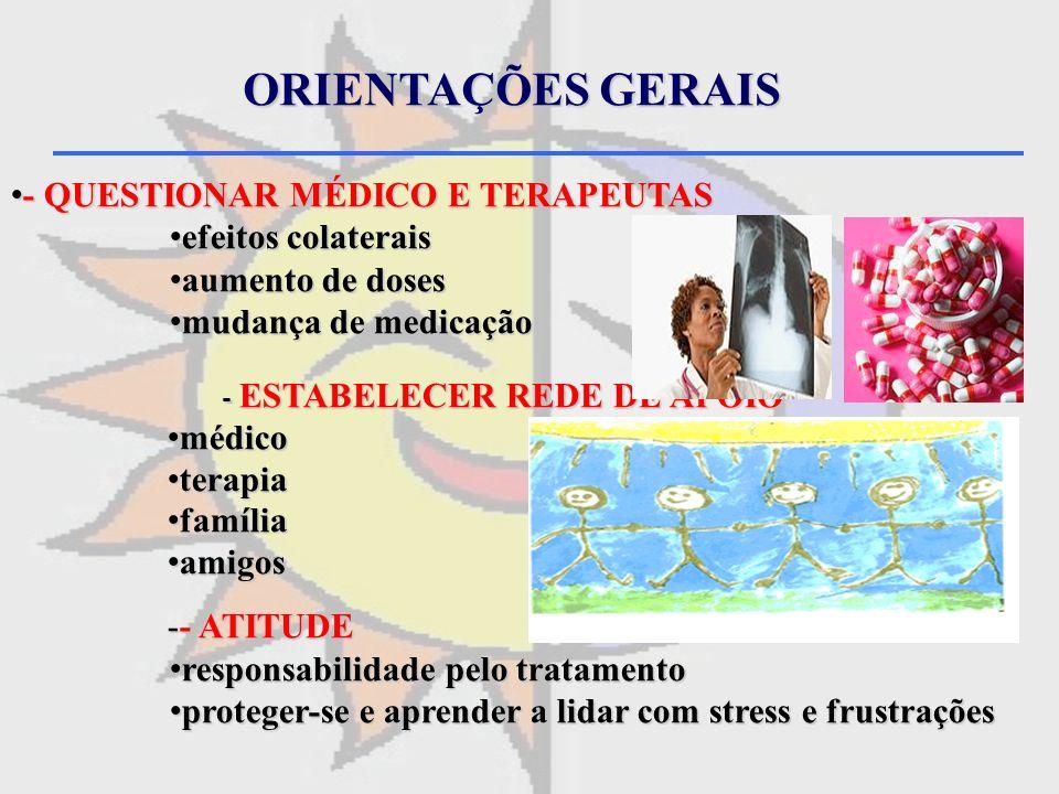 ORIENTAÇÕES GERAIS - QUESTIONAR MÉDICO E TERAPEUTAS efeitos colaterais