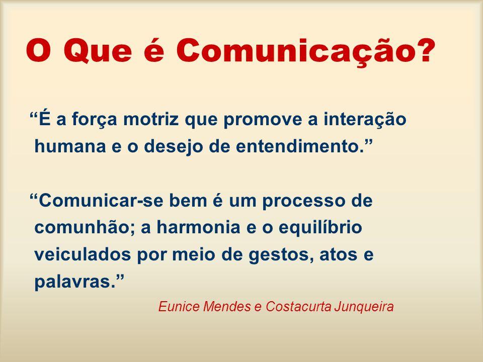 O Que é Comunicação É a força motriz que promove a interação