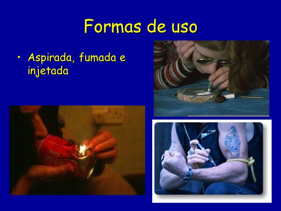 Formas de uso Aspirada, fumada e injetada