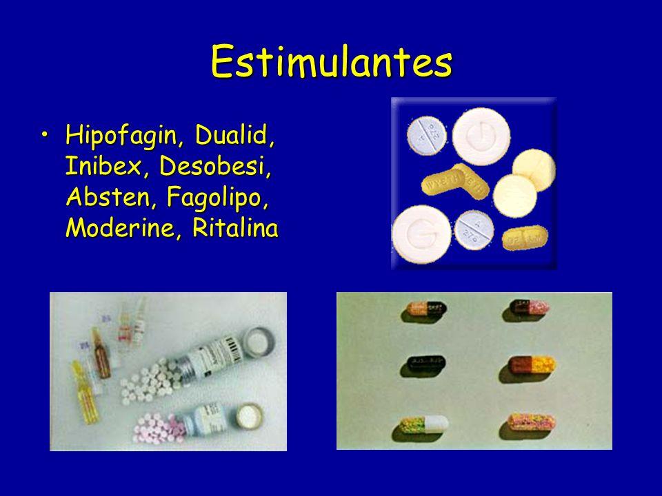 Estimulantes Hipofagin, Dualid, Inibex, Desobesi, Absten, Fagolipo, Moderine, Ritalina