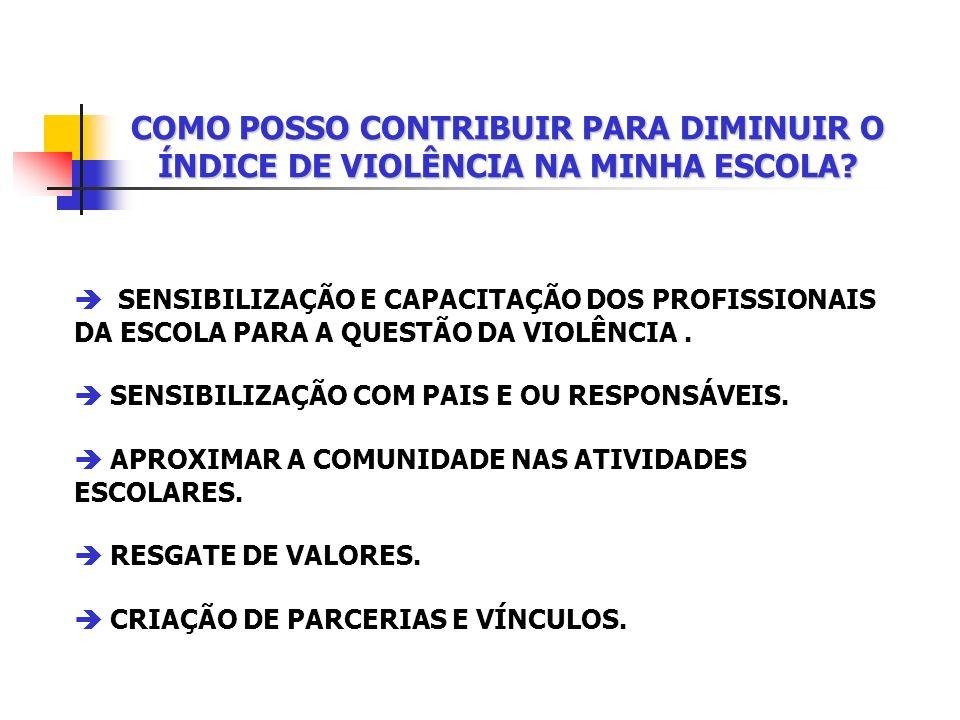 COMO POSSO CONTRIBUIR PARA DIMINUIR O ÍNDICE DE VIOLÊNCIA NA MINHA ESCOLA