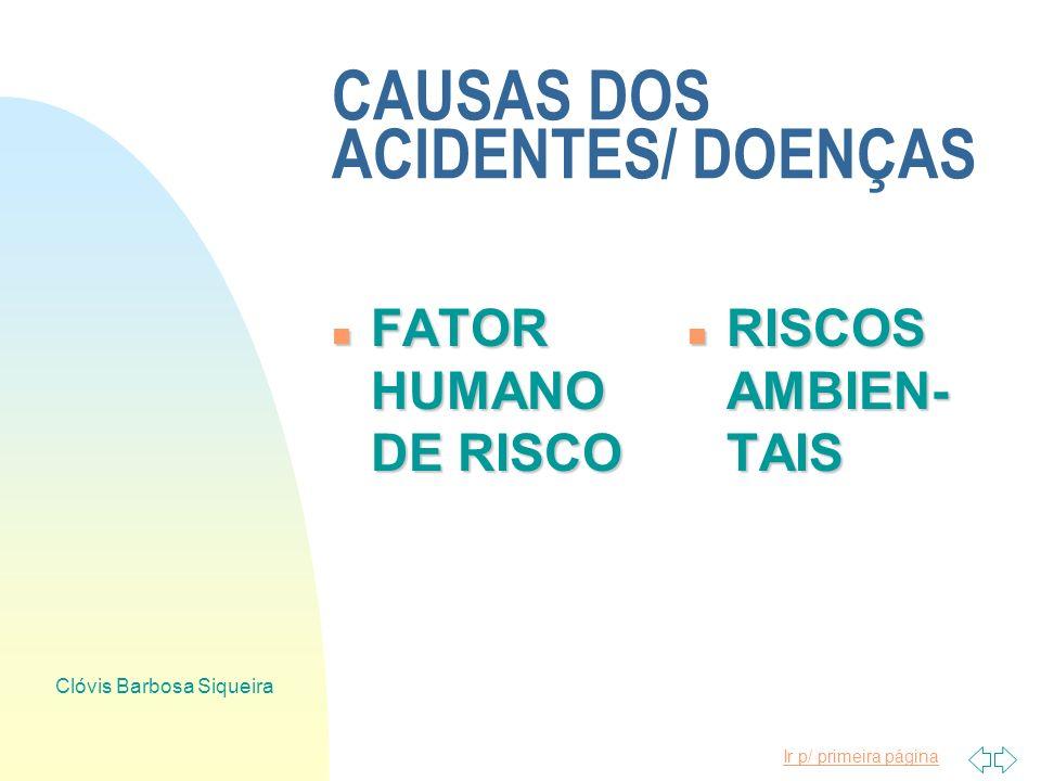 CAUSAS DOS ACIDENTES/ DOENÇAS